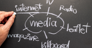 White chalk writing on a blackboard - the word media is surrounded by interet, TV, radio, magazine, billboard and leaflet